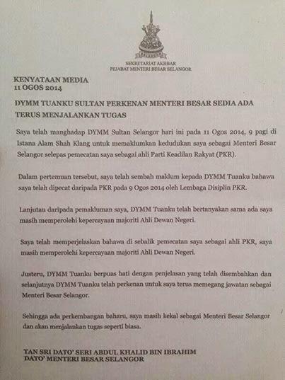 Khalid Ibrahim Kekal Menteri Besar Selangor