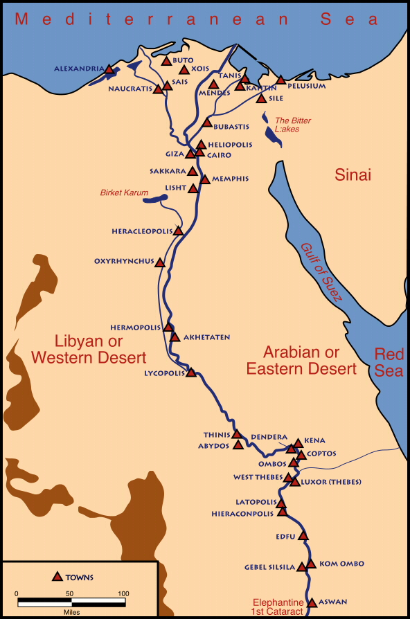 AmunRa Egyptology Blog MAP OF EGYPT - Map of egypt old kingdom