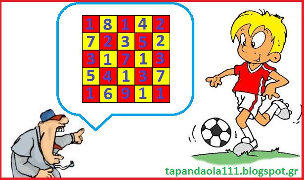 κουίζ, ποδόσφαιρο, πυθαγόρας, άθροισμα, tapandaola111, ψυχαγωγία