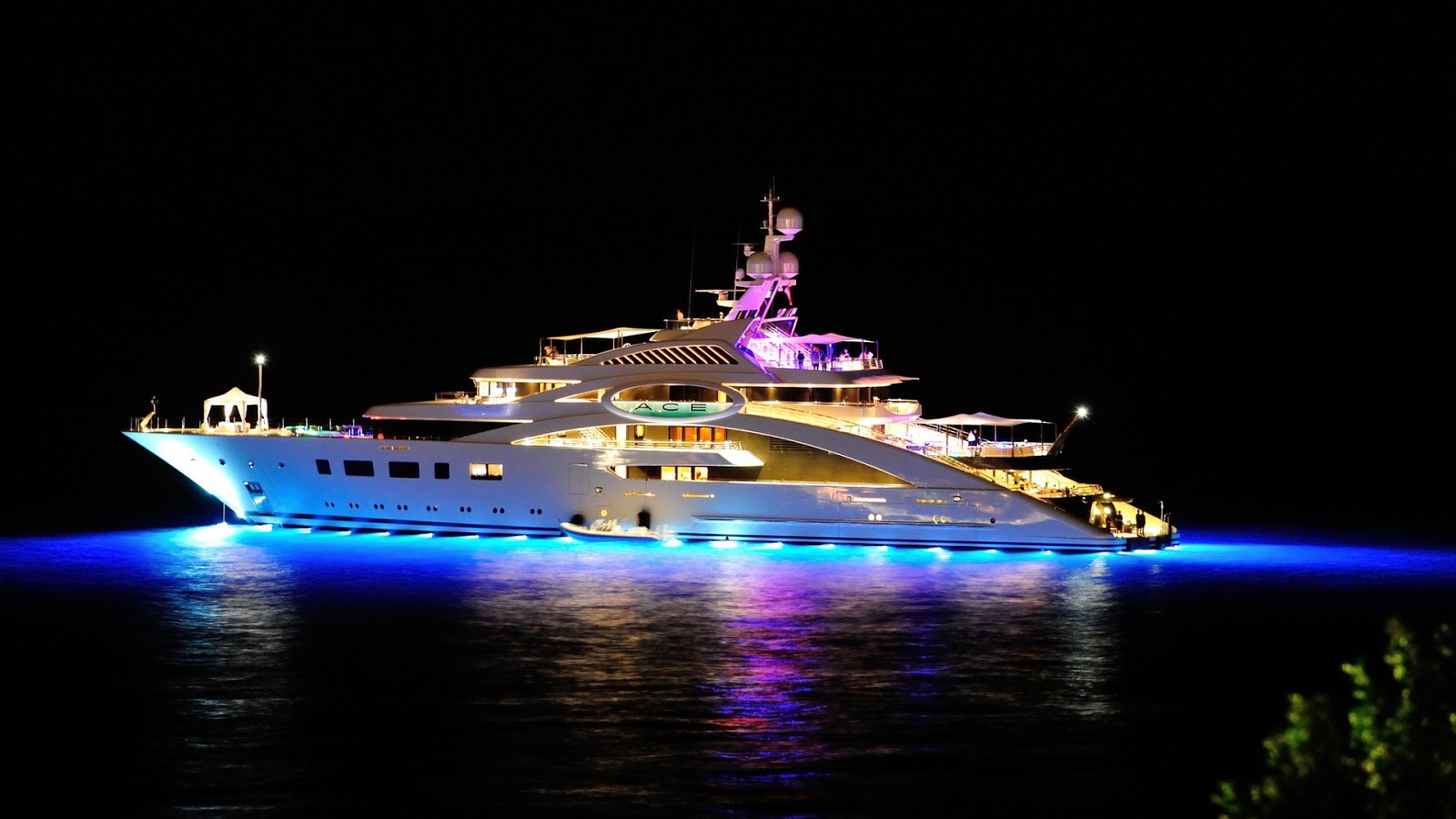 Superyacht ACE at Night