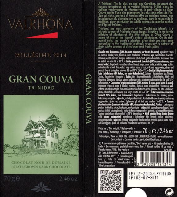 tablette de chocolat noir dégustation valrhona noir de domaine gran couva trinidad 2014