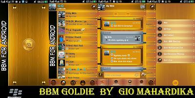 BBM mod Goldie Tema Wood Gold Versi 2.8.0.21 Apk