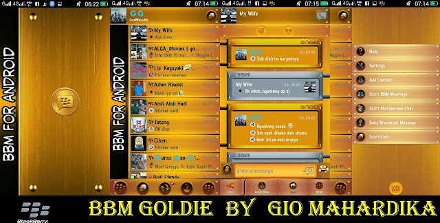 Download BBM Mod Goldie Wood Gold Themes Version 2.8.0.21 Apk