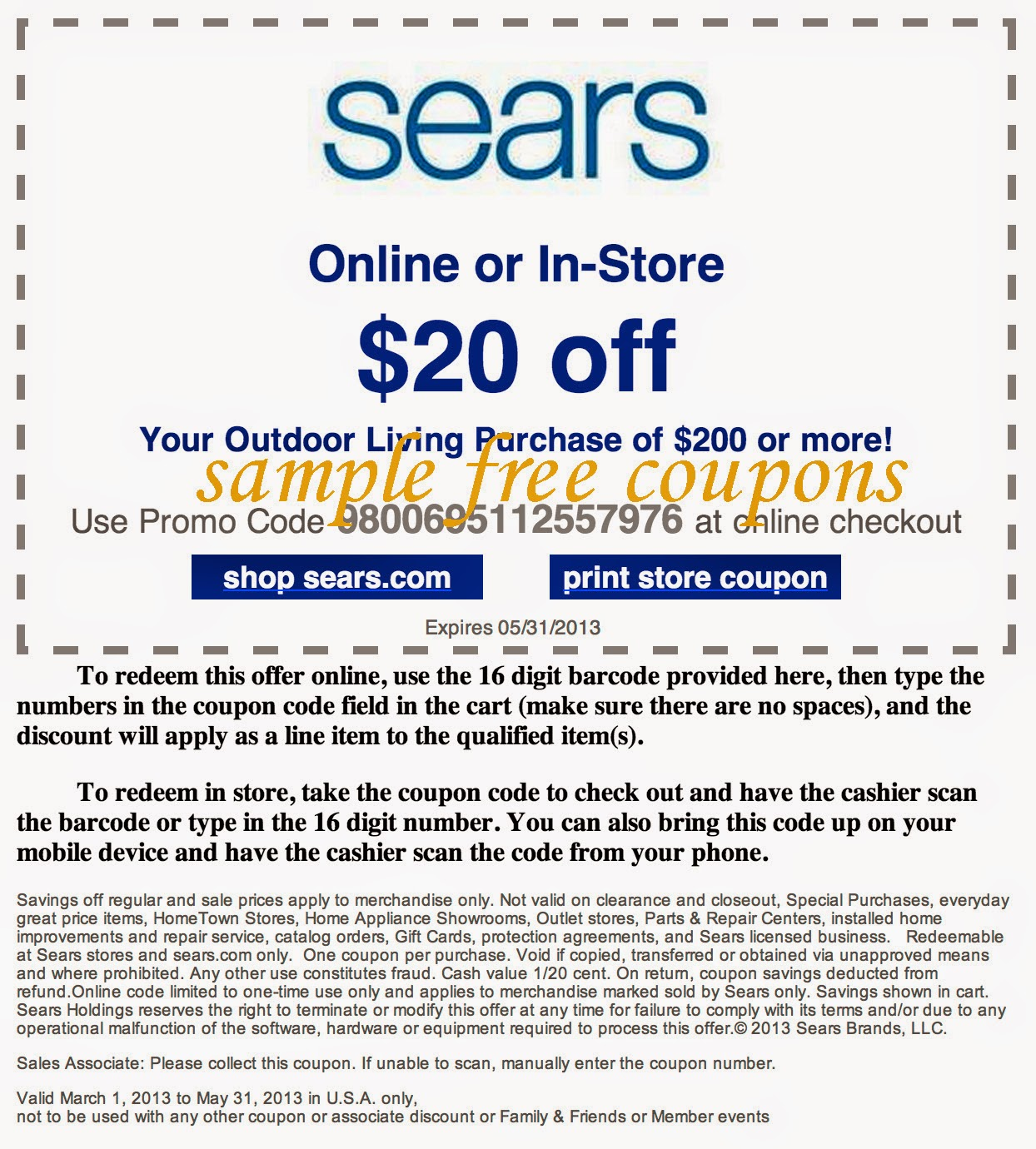 Sears discount coupons
