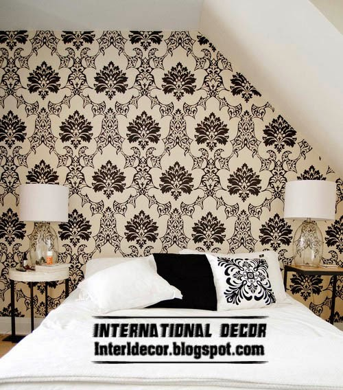 Black and white wallpaper for bedroom interior design