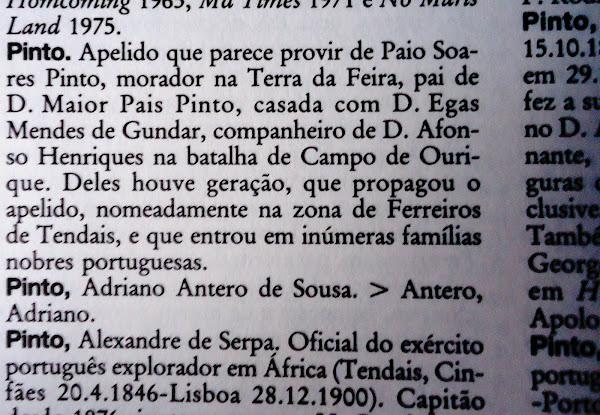 """Entrada sobre o apelido PINTO, na obra """"Enciclopédia Lexicoteca"""""""