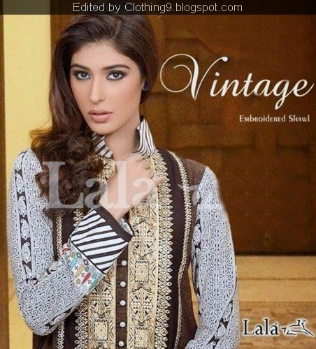 Lala Vintage Embroidered Shawls Suits