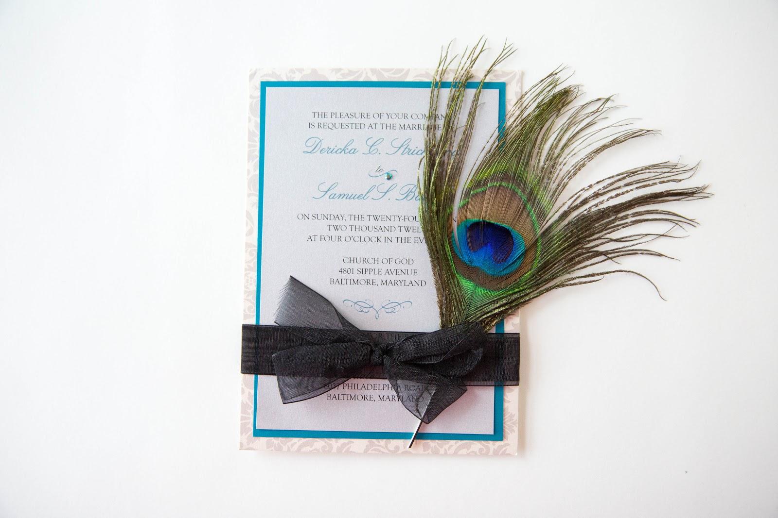 Peacock feather wedding invitation wedding invitations baltimore peacock feather wedding invitation wedding invitations baltimore stopboris Gallery