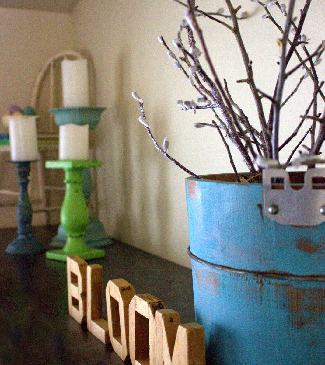 spring decor ideas, best of DIY, beyond the picket fence, paint, bloom, pussy willows, bucket, candlesticks, http://bec4-beyondthepicketfence.blogspot.com/2015/03/bestofdiy-spring-pussy-willows.html