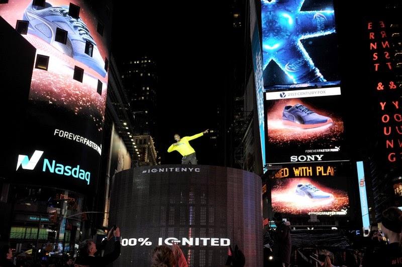 Usain Bolt en la campaña de las nuevas Puma Ignite en el centro de Nueva York