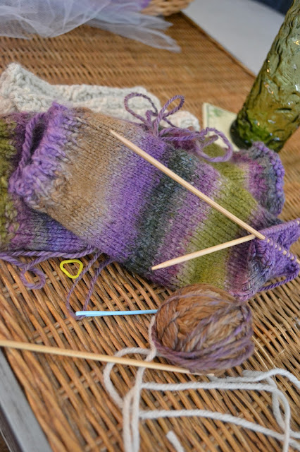 Legwarmers from handspun handdyed yarn