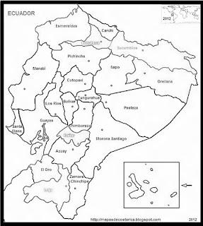 Mapa de la organización política de ECUADOR, nombre de provincias, blanco y negro