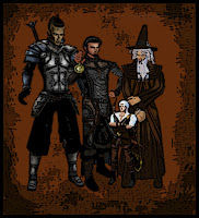 A half orc in armor, a cleric hold up his holy symbol, a halfling archer and a wizard in a pointy hat-pathfinder