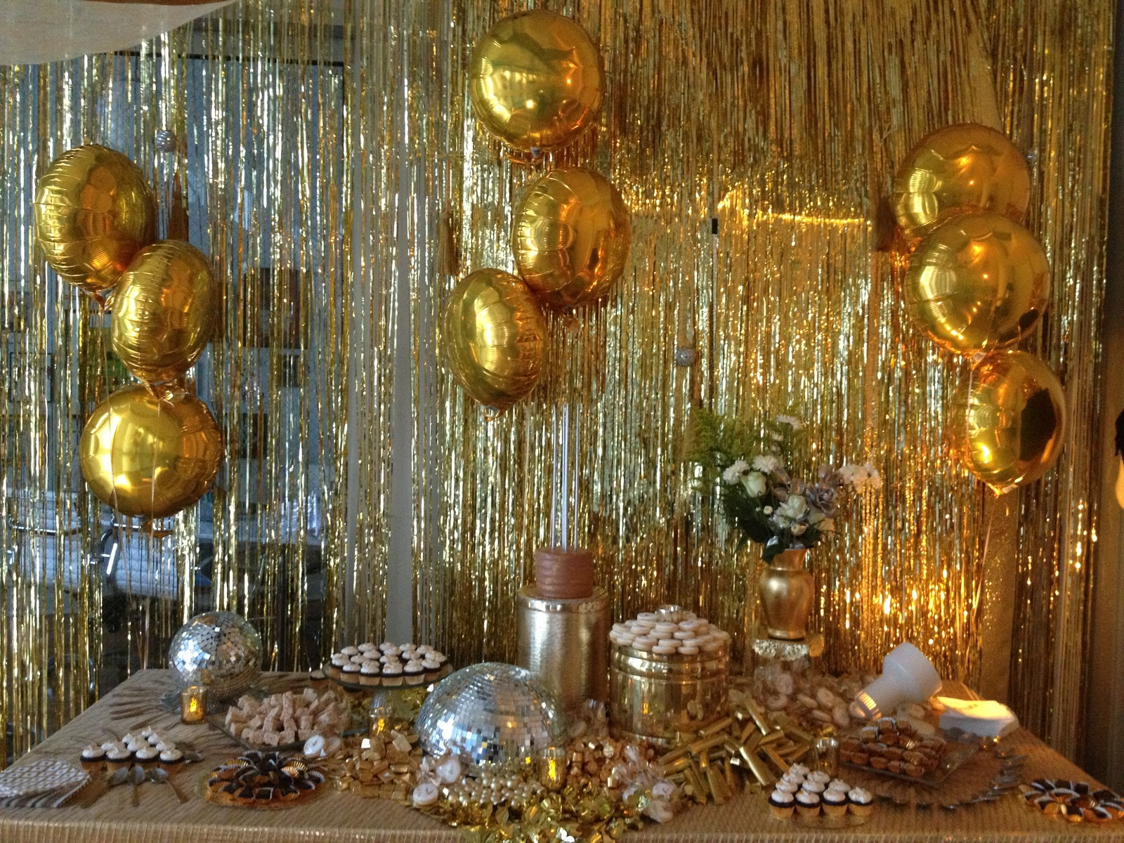 Dough and batter 50th solid gold disco party dessert bar for 50th party decoration
