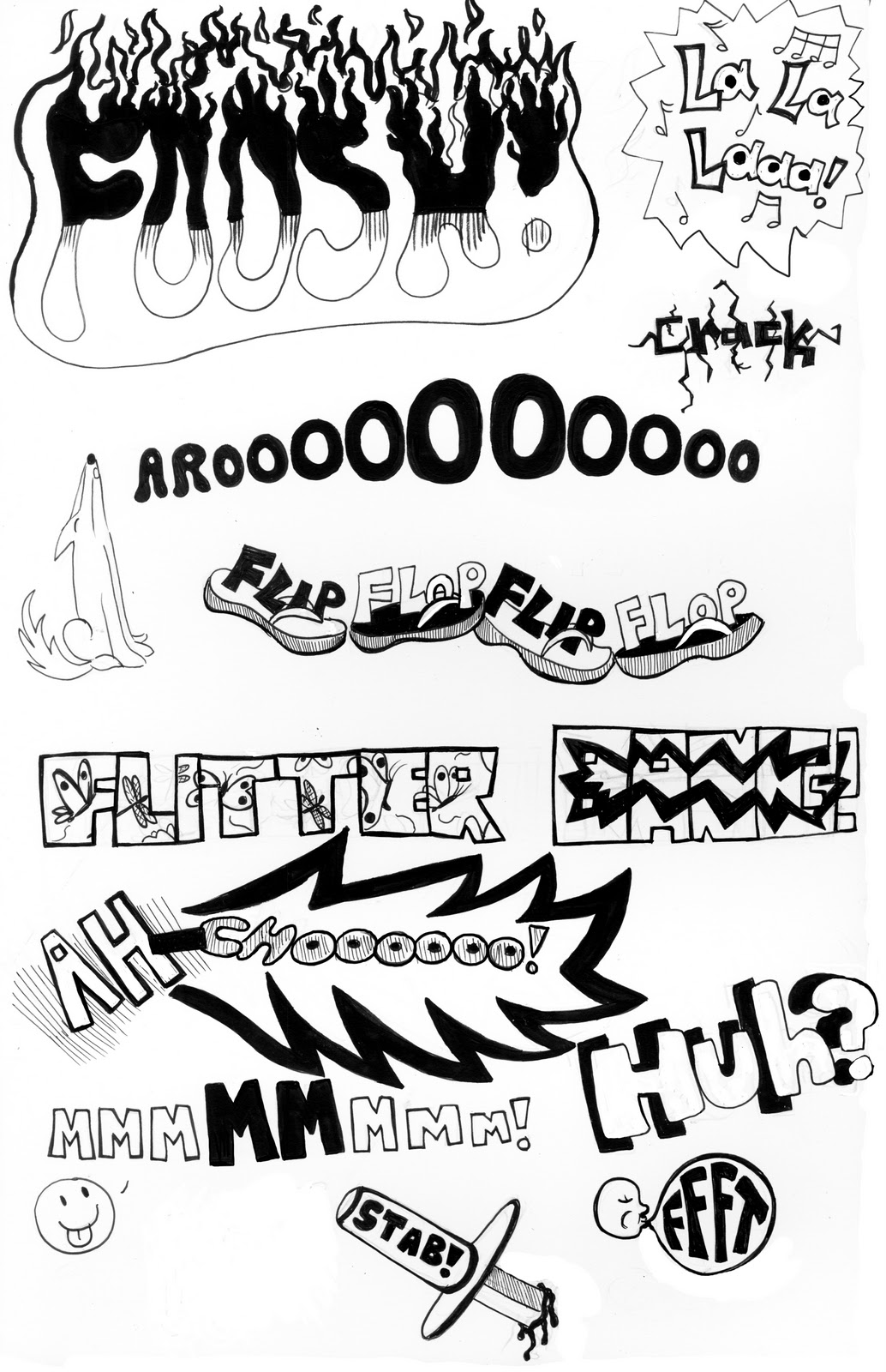 Drawing Lines Sound Effect : Various comic sound effects from hand lettering class