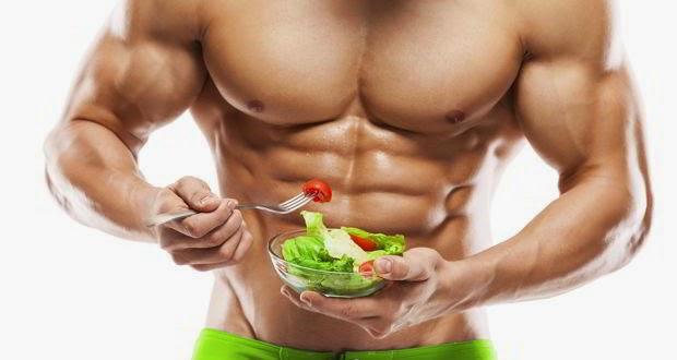 Bodybuilder Eating Foods