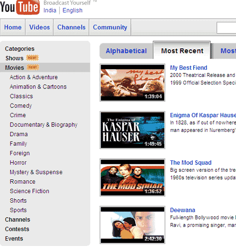 Youtube Full Movie on Gsm Beyond  Watch Full Length Movies On Youtube