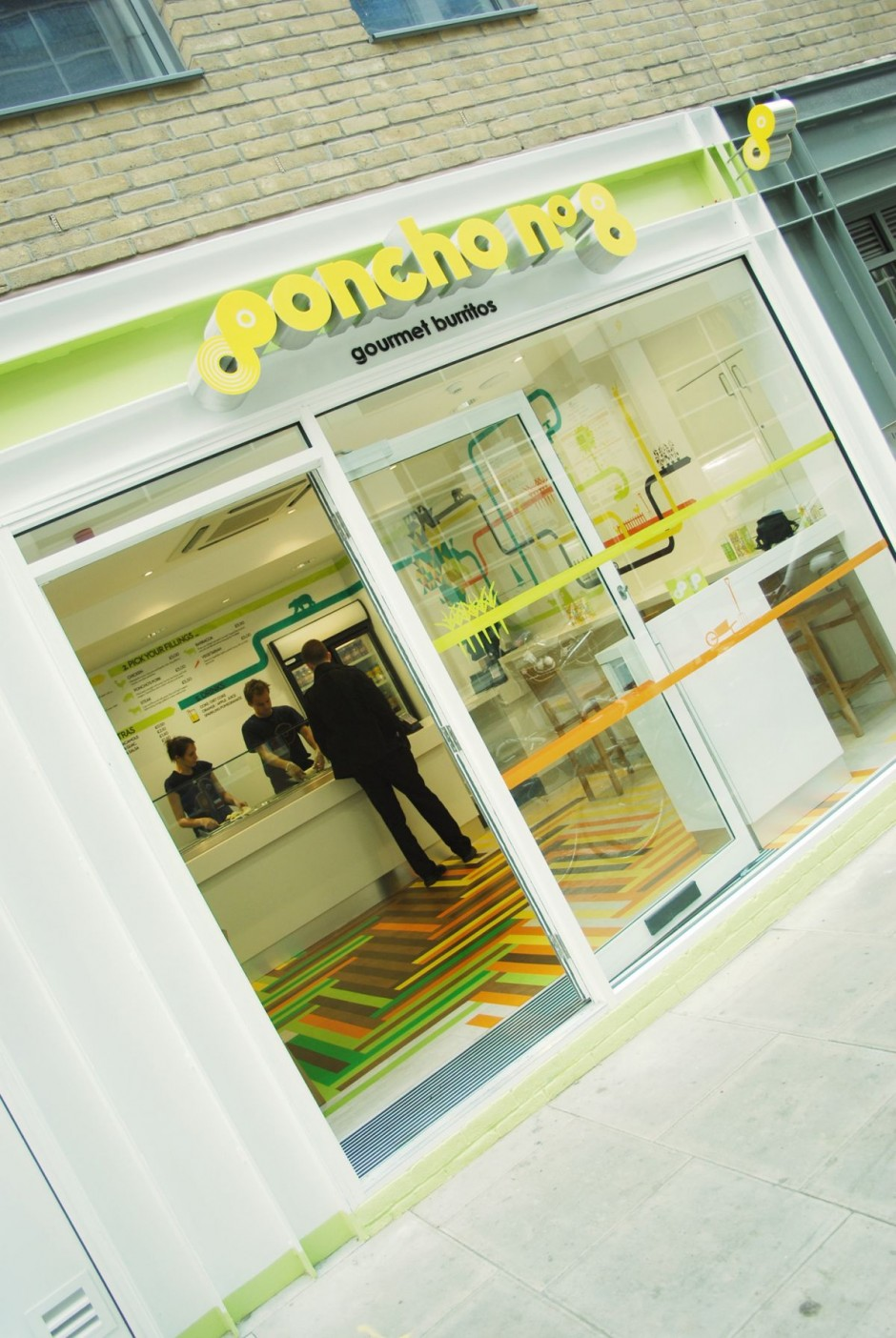 Poncho no 8 is a mexican food restaurant popular for its burritos it is located in a busy london street and is done by the native london design studio