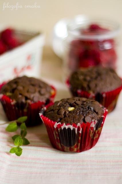 Podwójnie czekoladowe muffiny z malinami i miętą