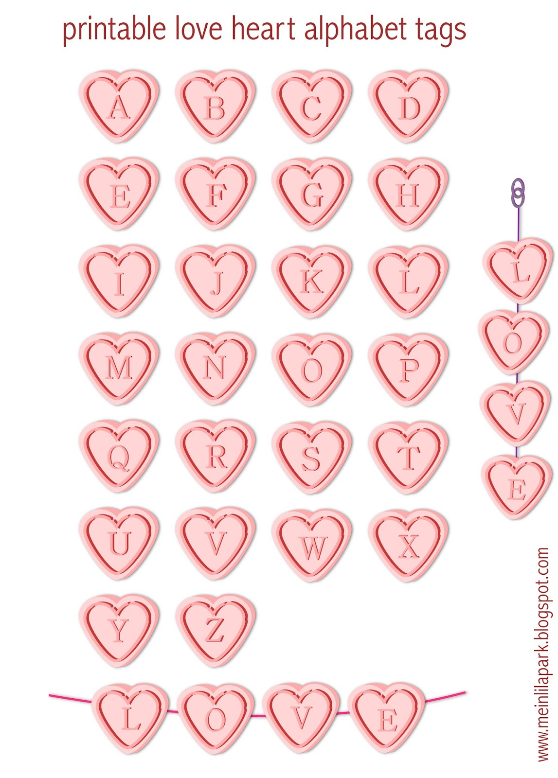 Free printable alphabet letter tags : love hearts ... K Alphabet In Heart