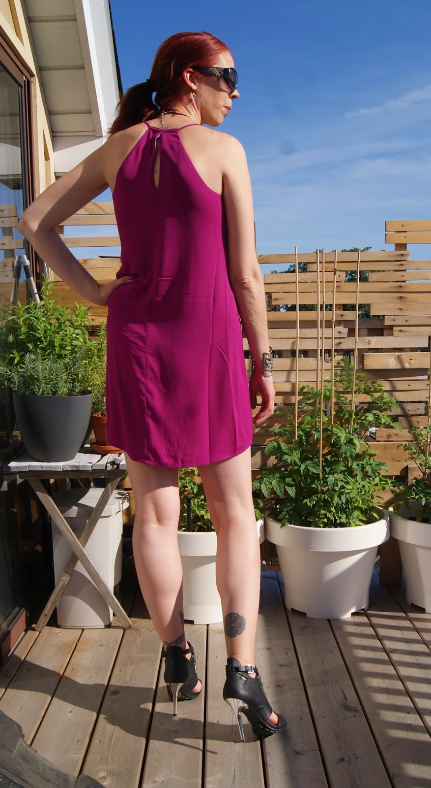 Reversible Cami Dress from Express, Shop For Jayu Necklace, Forever 21 Shoes, Local Buttons Bracelet, Fashion, Style, Orchid, Melanie_Ps, The Purple Scarf, Toronto, Outfit, Travel, Cami, accessories, Heels