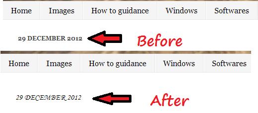 change-Date-header-font