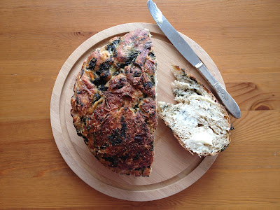 gorgeous wheat spinach feta bread with butter
