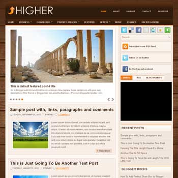 Higher blog template. template image slider blog. magazine blogger template style. wordpress theme to blogger