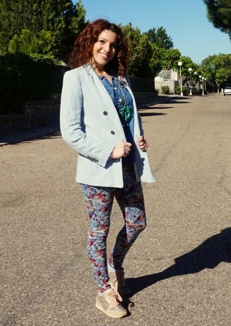 blazer mujer azul pastel