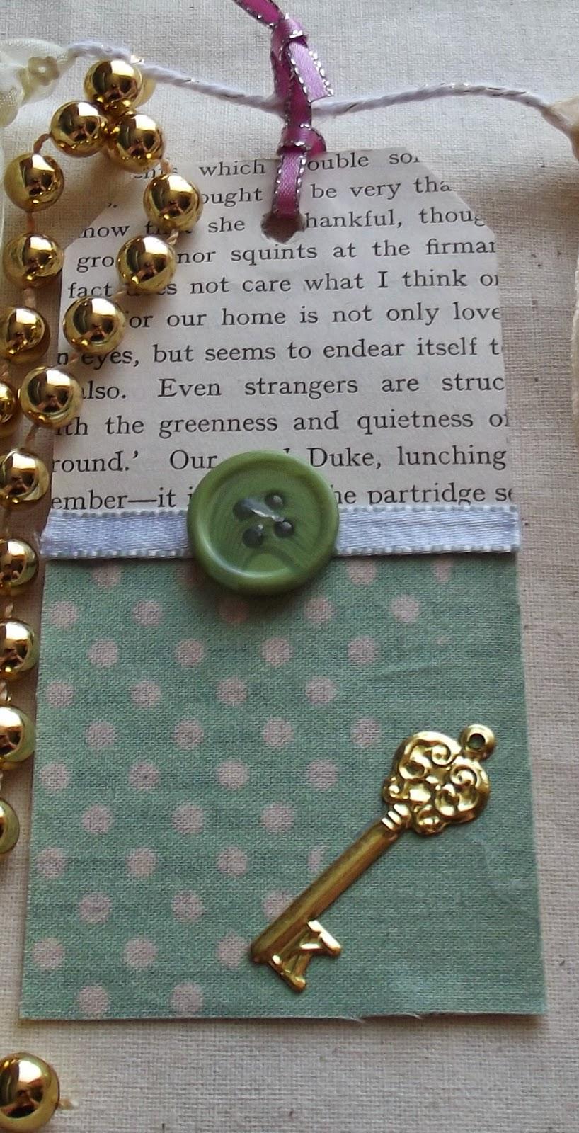button key mint bookpage ribbon