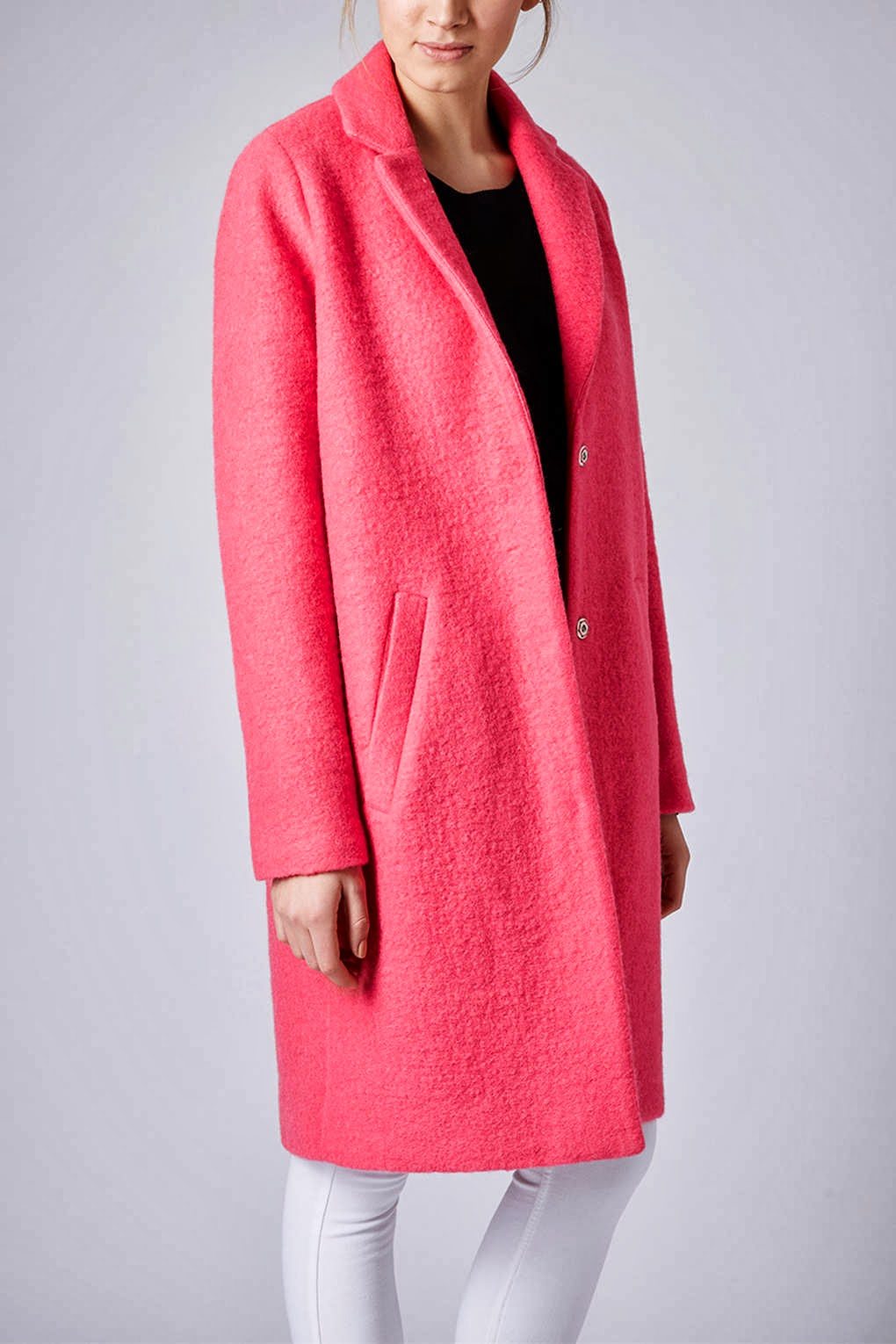 topshop bright pink coat