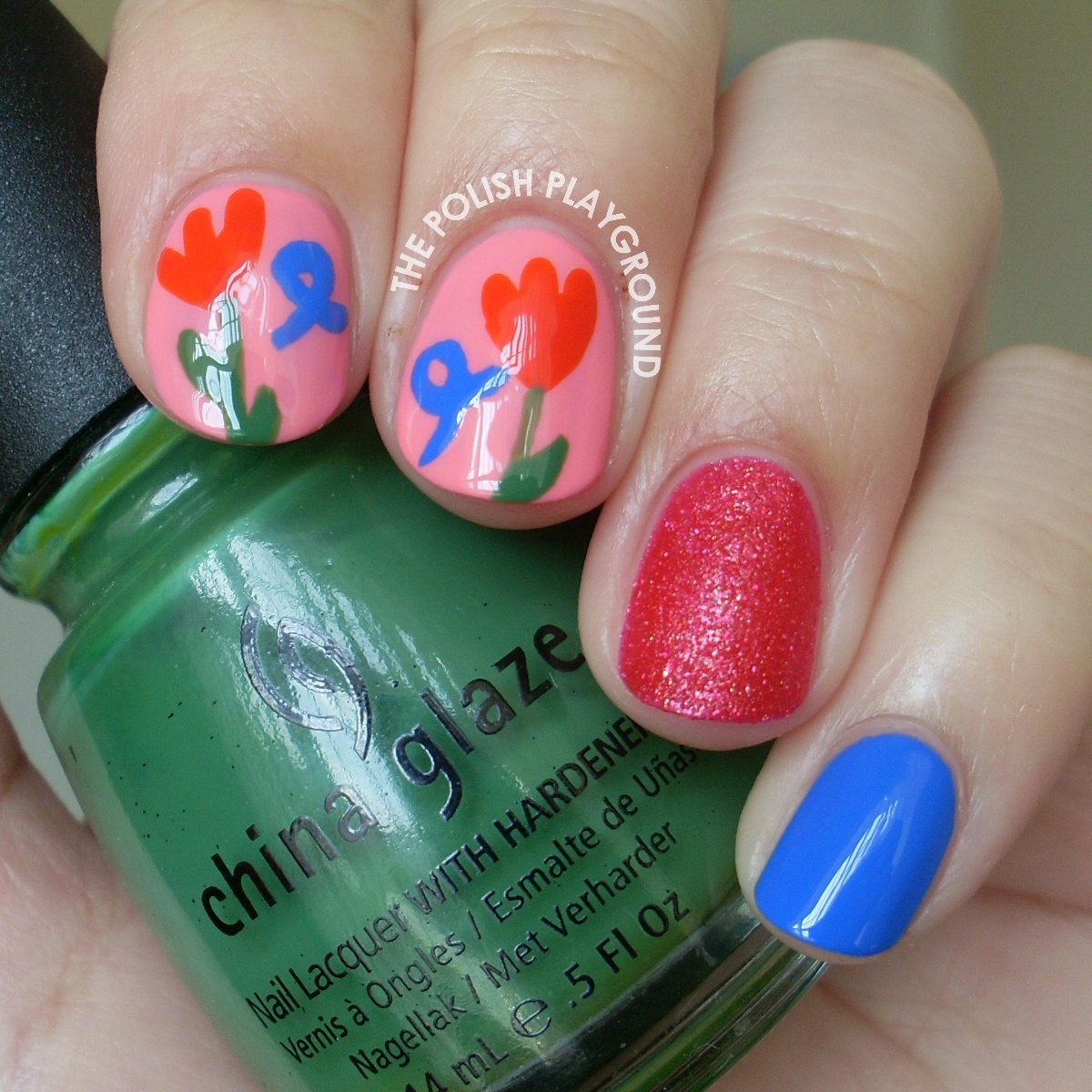 Tulips and Ribbons For World Parkinson's Day Nail Art