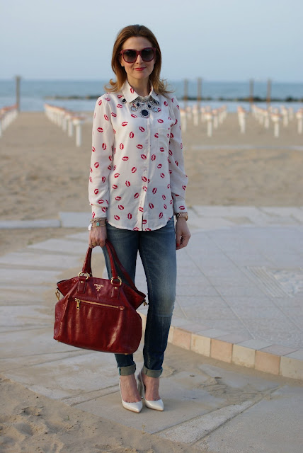 Sheinside long sleeved lips print shirt, Prada red bag, Fashion and Cookies