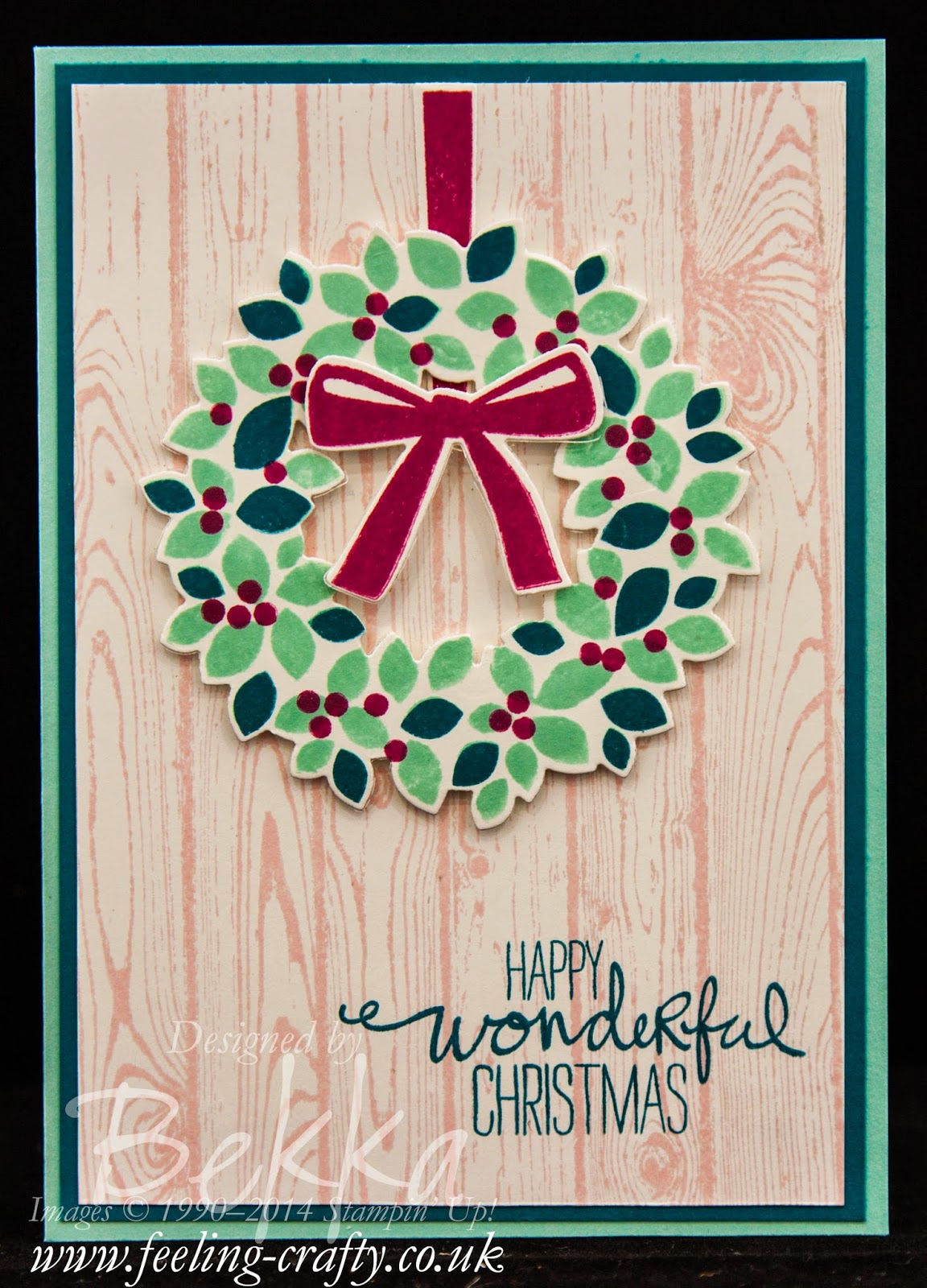 Wondrous Wreath Christmas Card by Stampin' Up! UK Independent Demonstrator Bekka - check out this blog for lots of ideas with this stamp set