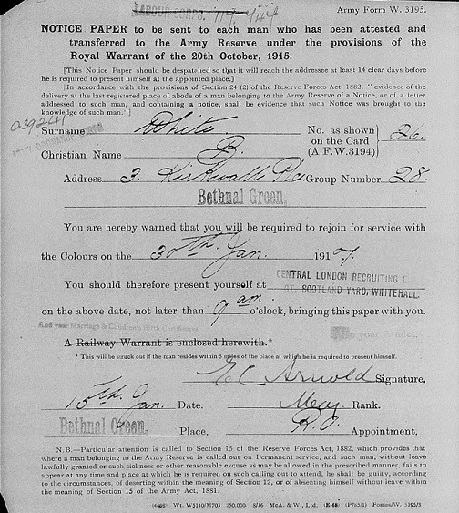 Army Forms  Attestations Army Form W  Mobilisation Of Derby