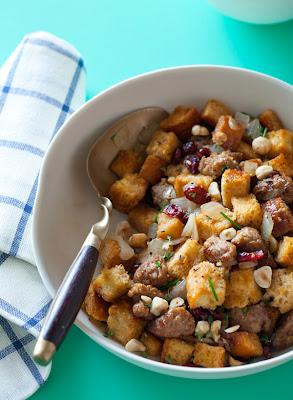 Sausage and Sage Stuffing with Dried Cranberries and Toasted Hazelnuts