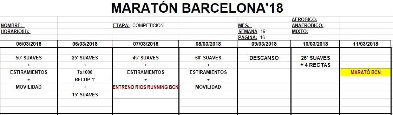 Entreno Maratón Barcelona'18