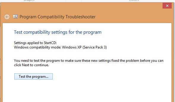 Test the program windows 8