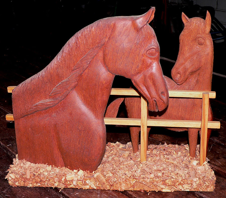Casal de cavalos - Escultura em madeira