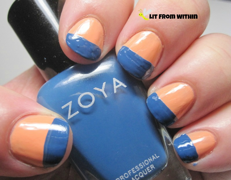 Zoya Edie is a slightly dusty, maybe a little lighter than a traditional denim blue