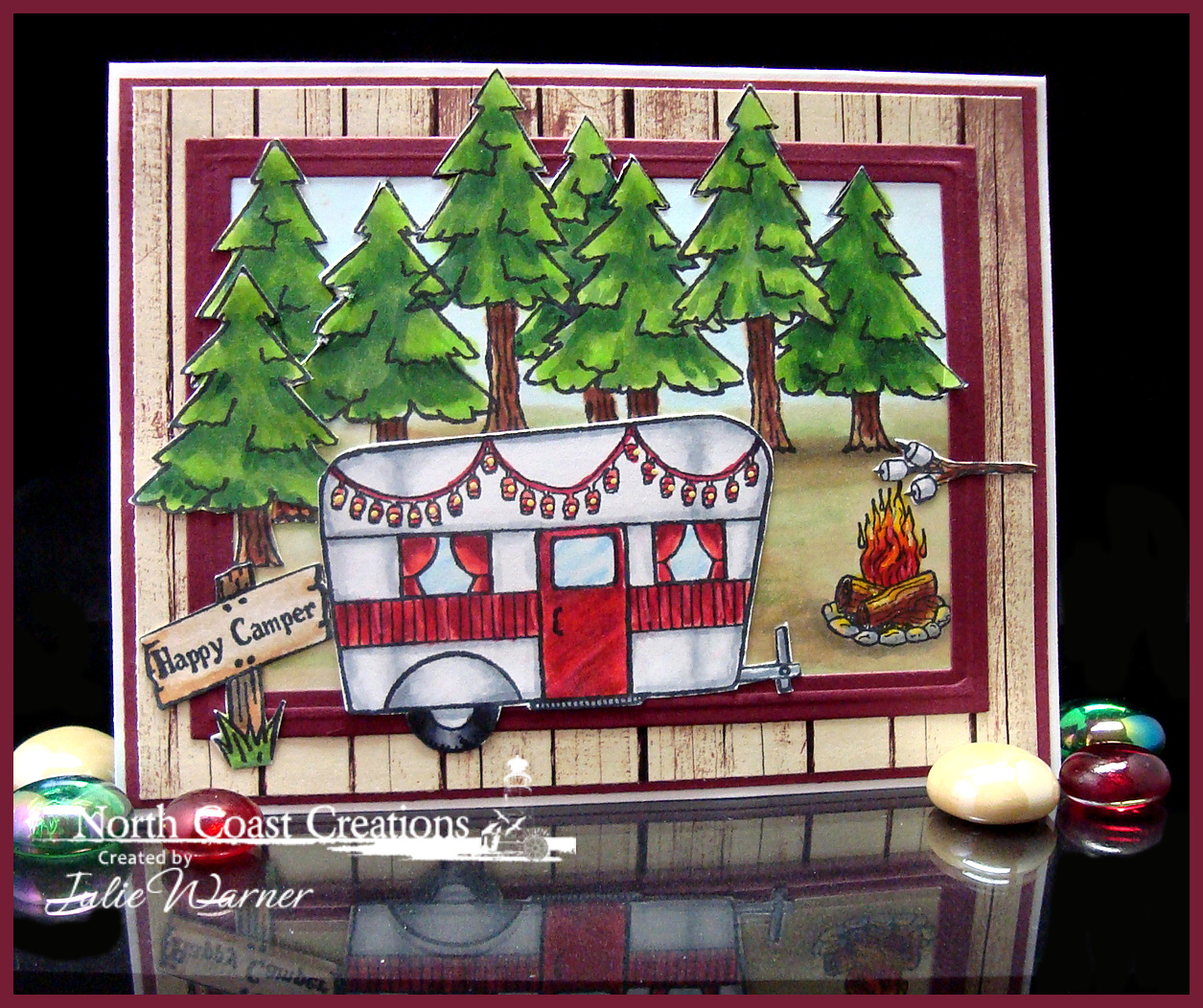 Stamps - North Coast Creations Happy Camper, ODBD Rustic Beauty Paper Collection