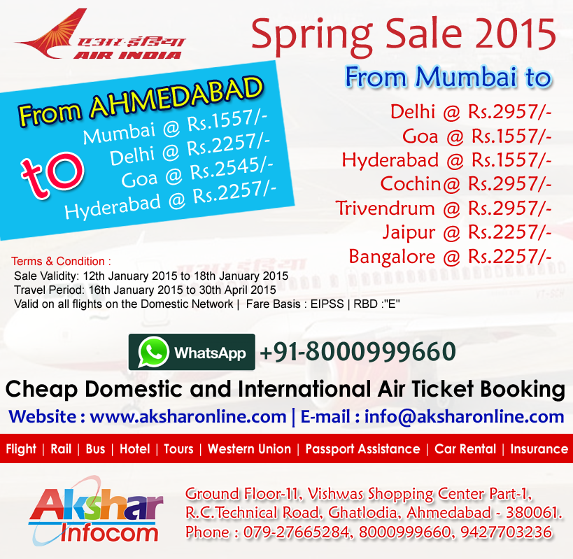 AirIndia Spring Sale 2015 - cheap air ticket booking agent ghatlodia, ahmedabad, sasta ticket, travel agent for booking 079-27665284, 8000999660