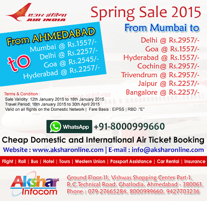 AirIndia Spring Sale 2015