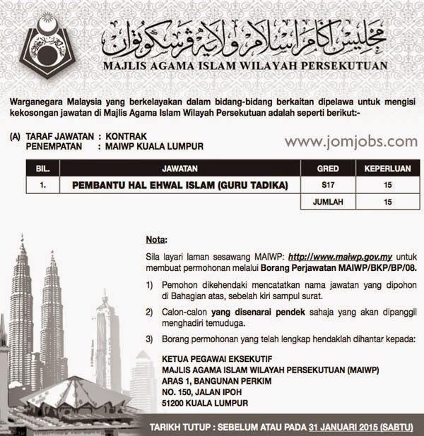 Iklan jawatan kosong Majlis Islam Wilayah Persekutuan MAIWP 2015