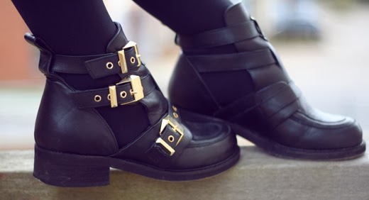 cut out boots, boots, buckle boots