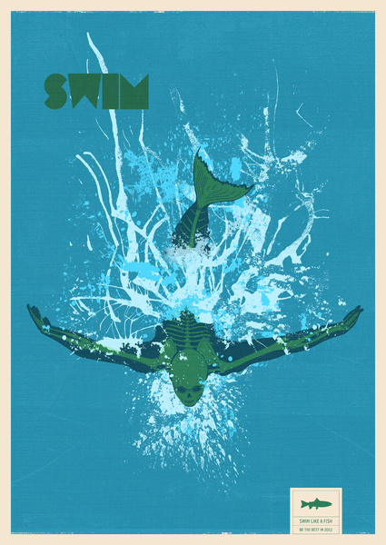 poster of swimmer from above with green skeleton and the word swim