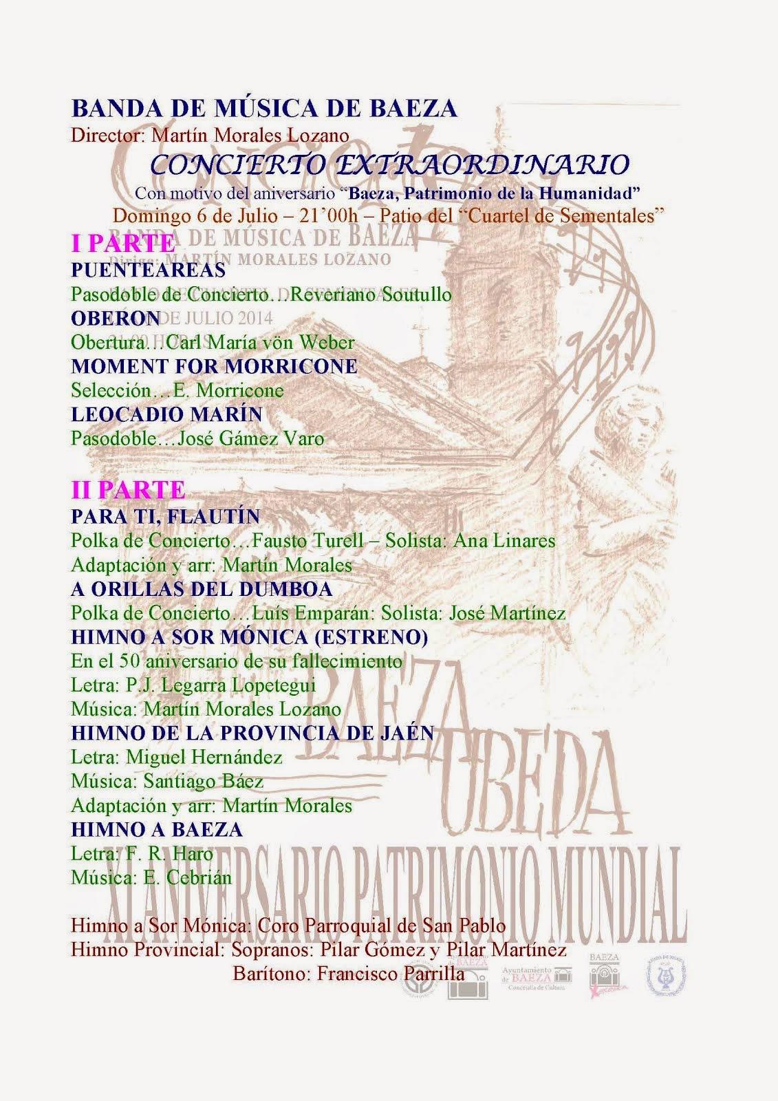 BANDA DE MÚSICA DE BAEZA - PROGRAMA - XI CONCIERTO DEL PATRIMONIO