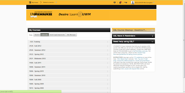 Screen shot of UWM D2L version 10