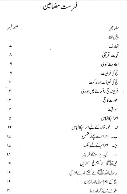 Contents/Index of Hajj Wa Umrah pdf book by Habib Ur Rahman
