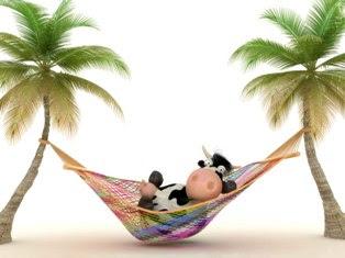 Ilustração de uma vaca estendida a dormir à sombra de uma bananeira
